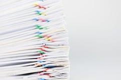 Pile overload document place on white background Stock Image