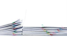 Pile overload paperwork colorful heart-shaped clip time lapse stock video footage