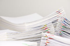 Pile overload paperwork have blur pile document foreground and background Royalty Free Stock Photography