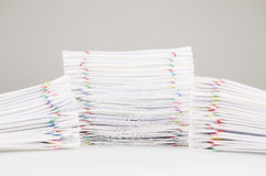 Pile overload paperwork have dual blur pile document foreground Stock Photography