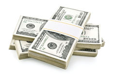 Pile of packed dollars money. On white background Stock Images