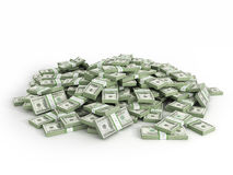 Pile of packs of dollar bills. On white background vector illustration