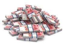 Pile of packs of yuan. Lots of cash money. Royalty Free Stock Photography