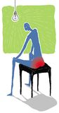 Pile painful  illustration. Man suffering hemorrhoids sits on chair Stock Photos