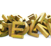Pile of painted wooden letters Stock Photo