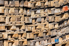 Pile of palettes. Pile of palettes - recyclable material. Logistics and ecology background Royalty Free Stock Images