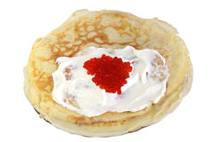 Pile of the pancakes. With sour cream and red caviar Stock Photo