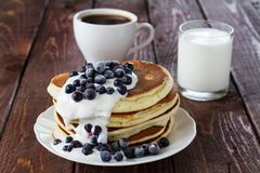 Pile of pancakes. With blueberries Stock Photo