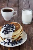 Pile of pancakes. With blueberries Stock Photography
