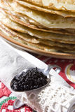 Pile of pancakes and caviar Royalty Free Stock Photo