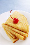 Pile pancakes with cherries Stock Photo