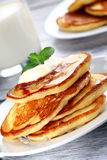 Pile of pancakes. Close up of plate with a pile of home made pancakes Royalty Free Stock Photos