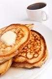 Pile of Pancakes and Coffee Stock Photography