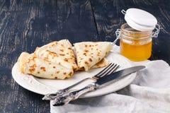 Pile of pancakes for maslenitsa carnival stock images