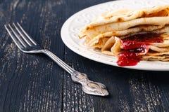 Pile of pancakes for maslenitsa carnival royalty free stock images