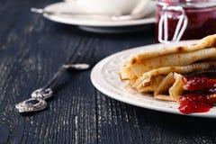 Pile of pancakes for maslenitsa carnival stock photos