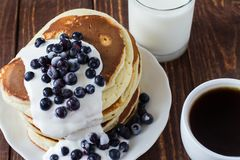 Pile of pancakes. With blueberries Stock Image
