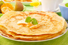 Pile of pancakes on plate royalty free stock image