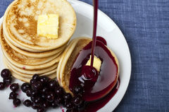Pile of pancakes on a plate Stock Photo