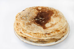 Pile of pancakes on the plate Stock Photo