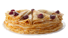 Pile of pancakes on the plate (isolated object) Royalty Free Stock Photo