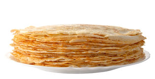 Pile of pancakes on the plate (isolated object) Royalty Free Stock Photos