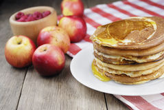 Pile of pancakes in the white plate Stock Image