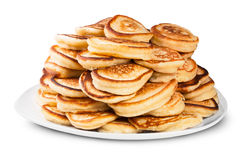 Pile Of Pancakes On A White Plate Rotated Royalty Free Stock Image