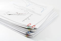 Pile of paper clipping by paper clips Royalty Free Stock Photo