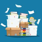 Pile of paper documents and file folders in carton boxes. Paperwork in office. Flat cartoon style vector illustration vector illustration