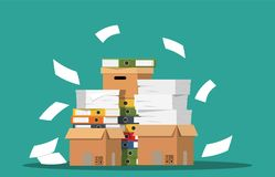 Pile of paper documents and file folders. Carton boxes. Bureaucracy, paperwork, office. Vector illustration in flat style Royalty Free Stock Photo