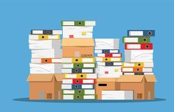Pile of paper documents and file folders. Carton boxes. Bureaucracy, paperwork, office. Vector illustration in flat style Stock Images