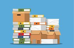 Pile of paper documents and file folders. Carton boxes. Bureaucracy, paperwork, office. Vector illustration in flat style Stock Photography