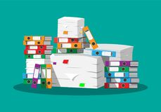 Pile of paper documents and file folders. Pile of papers. Office documents heap. Routine, bureaucracy, big data, paperwork, office. Vector illustration in flat Royalty Free Stock Photo
