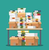Pile of paper documents and file folders on table. Pile of papers. Office documents heap. Routine, bureaucracy, big data, paperwork, office. Vector stock illustration