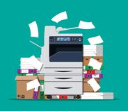 Pile of paper documents and printer. Office multifunction machine. Pile of paper documents, boxes and folders. Bureaucracy, paperwork, office. Printer copy Stock Image
