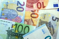 Pile of paper euro banknotes as part of the united country`s payment system royalty free stock images