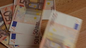 Pile of paper euro banknotes stock video