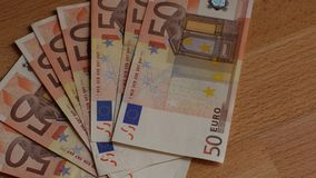 Pile of paper euro banknotes stock video footage