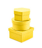 Pile of paper gift boxes isolated Stock Image