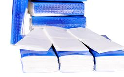 Pile of paper handkerchief pockets Royalty Free Stock Image