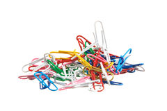 Pile of paperclips. Isolated on white background Royalty Free Stock Image