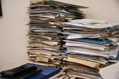 A pile of papers and files royalty free stock photos