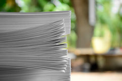 Pile of papers. Green background Stock Image