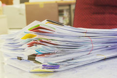 Pile of papers laid overlap Stock Photo