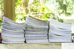 Pile of papers laid overlap Stock Photography
