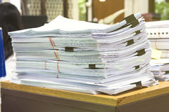 Pile of papers laid overlap Stock Image