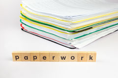 Pile of papers with word paperwork Stock Photo