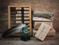 Pile parcel and abacus Stock Image
