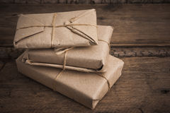 Pile parcel wrapped Royalty Free Stock Image